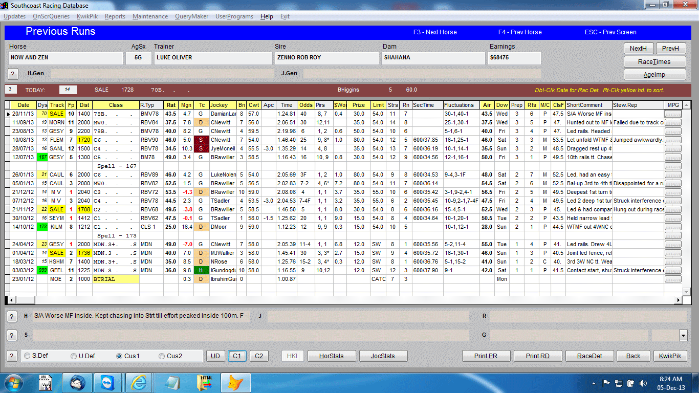 horseracing data from south coast services sample